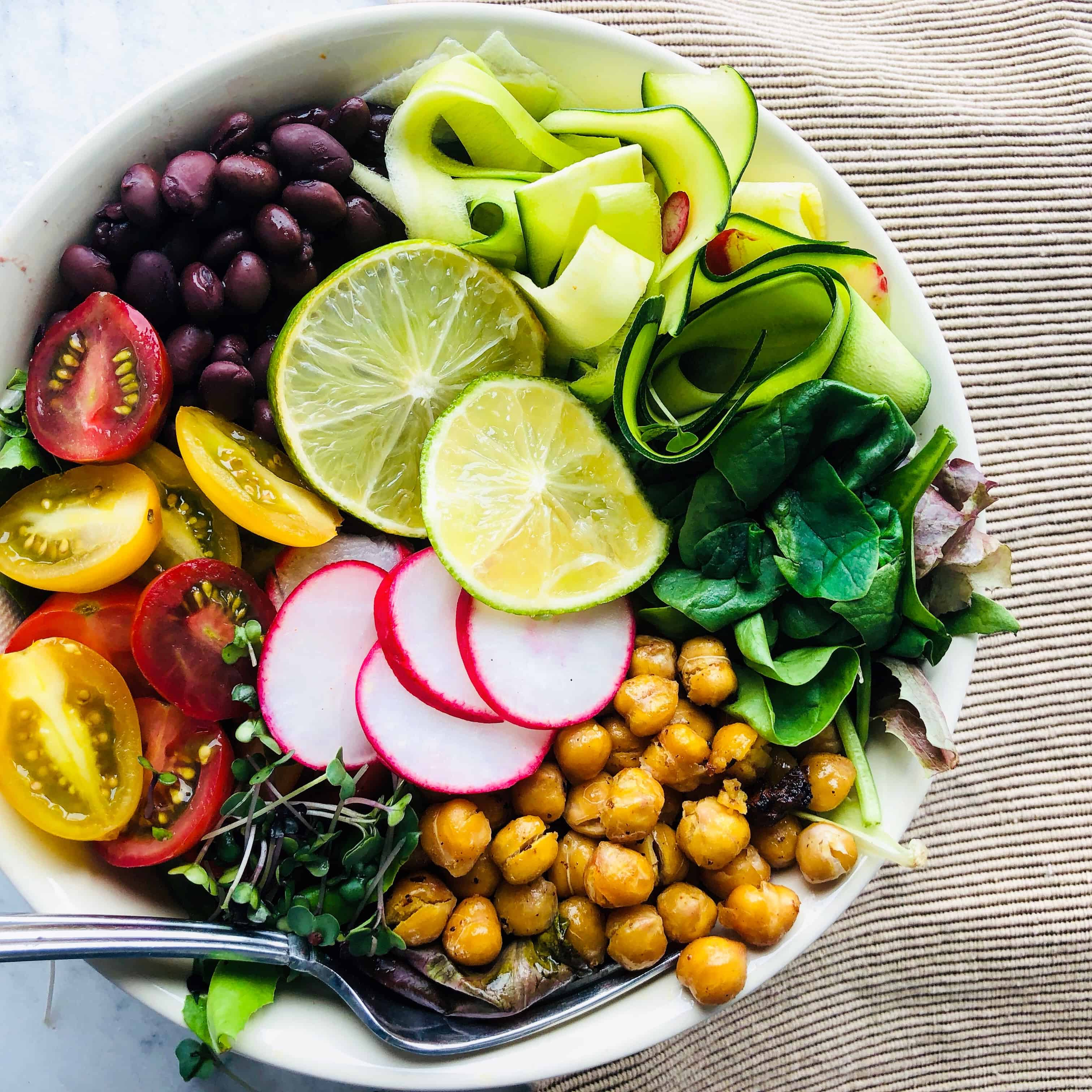Black bean and chickpea buddha bowl