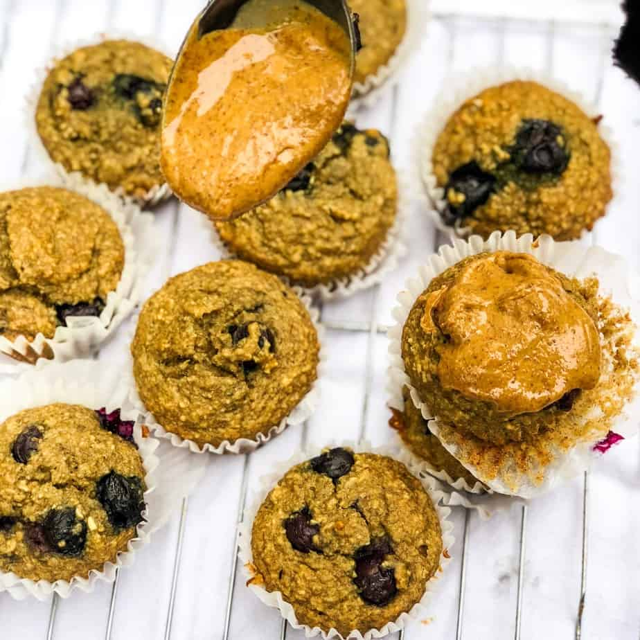 These gluten free blueberry banana muffins so moist and delicious. With only a few real food, nutritious ingredients, they are a guilt free snack, breakfast, or pre-workout fuel.