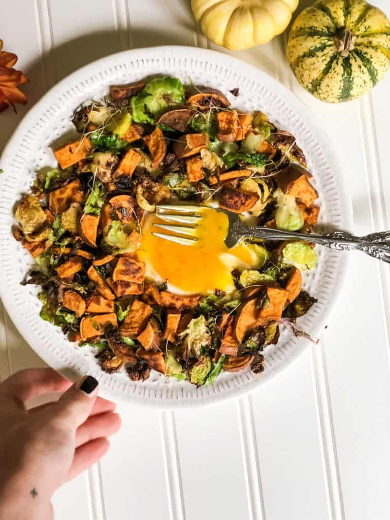 Paleo sweet potato and brussel sprouts hash